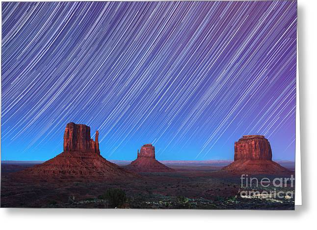 Rotation Photographs Greeting Cards - Monument Valley Star Trails  Greeting Card by Jane Rix