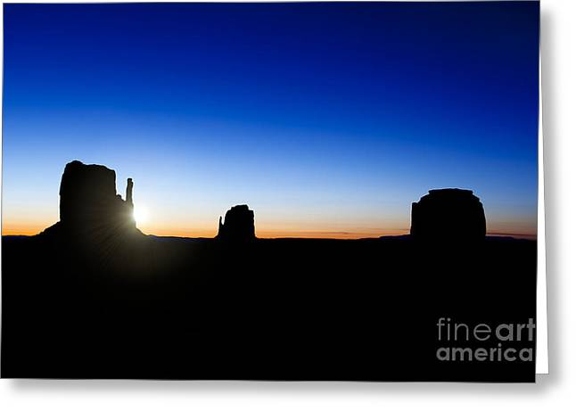 Native Stone Greeting Cards - Monument valley sunrise Greeting Card by Jane Rix