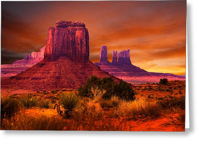 Monument Photographs Greeting Cards - Monument Valley Sunset Greeting Card by Harry Spitz