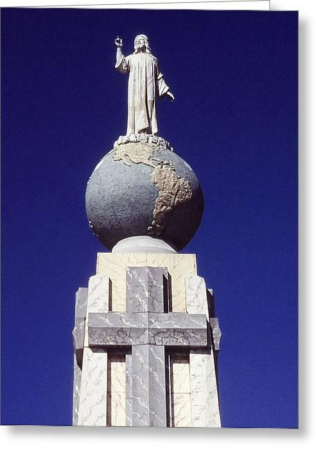El Salvador Greeting Cards - Monumento al Divino Salvador del Mundo Greeting Card by Juergen Weiss