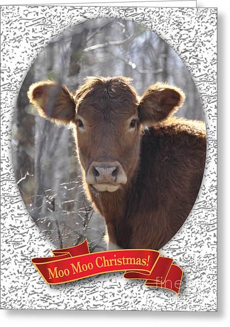 Moos Greeting Cards. Greeting Cards - Moo Moo Christmas Greeting Card by Cheryl McClure