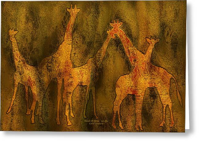 Giraffe Abstracts Greeting Cards - Moods Of Africa - Giraffes Greeting Card by Carol Cavalaris