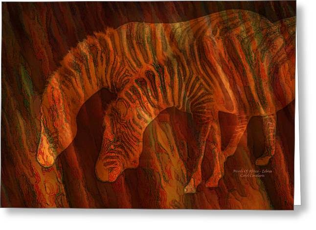 Zebra Greeting Cards Greeting Cards - Moods Of Africa - Zebras Greeting Card by Carol Cavalaris