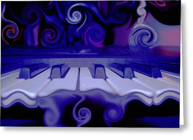 Abstract Expression Greeting Cards - Moody Blues Greeting Card by Linda Sannuti