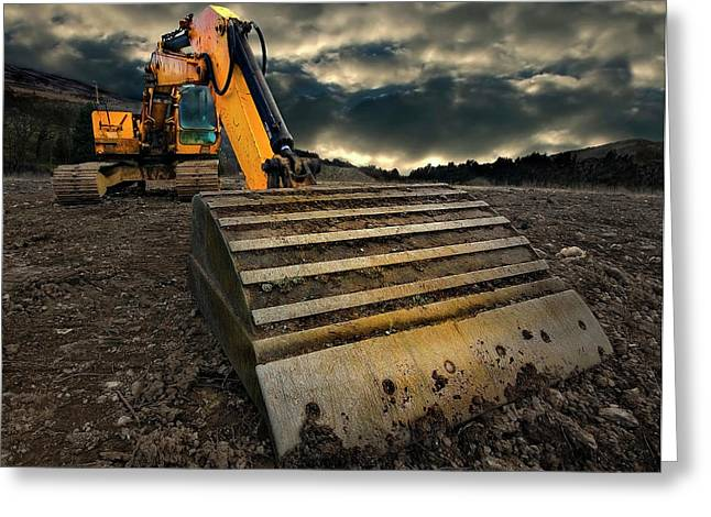 Vehicle Greeting Cards - Moody Excavator Greeting Card by Meirion Matthias