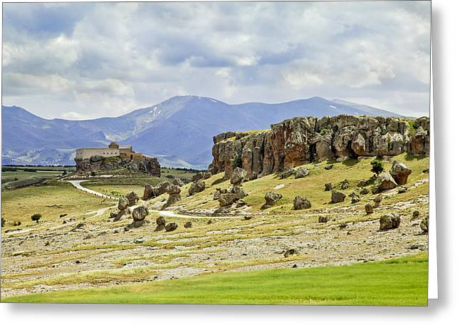 Lines Of Stress Greeting Cards - Moody Volcanic Landscape Greeting Card by Kantilal Patel