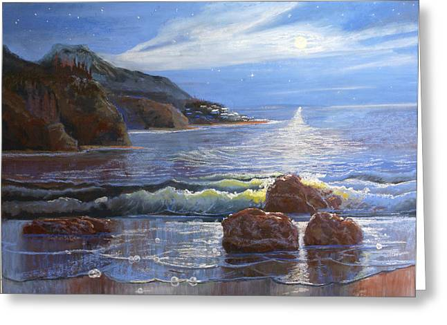 Ocean Scenes Pastels Greeting Cards - Moon Above the Olympic Peninsula Greeting Card by Heather Coen