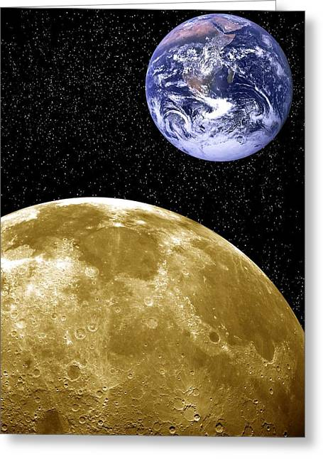 Moon And Earth, Artwork Greeting Card by Victor De Schwanberg