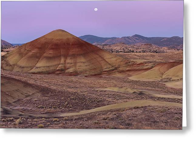 Moon And Painted Hills Greeting Card by Leland D Howard