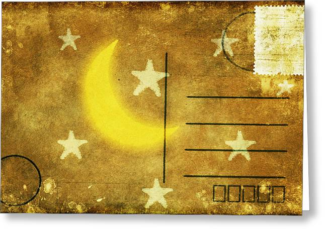 Paper Moon Greeting Cards - Moon And Star Postcard Greeting Card by Setsiri Silapasuwanchai