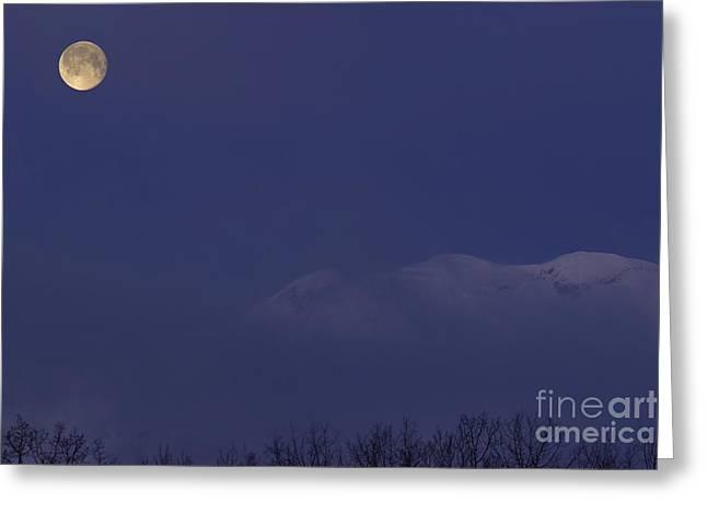 Moon At Dawn Greeting Card by Yuichi Takasaka