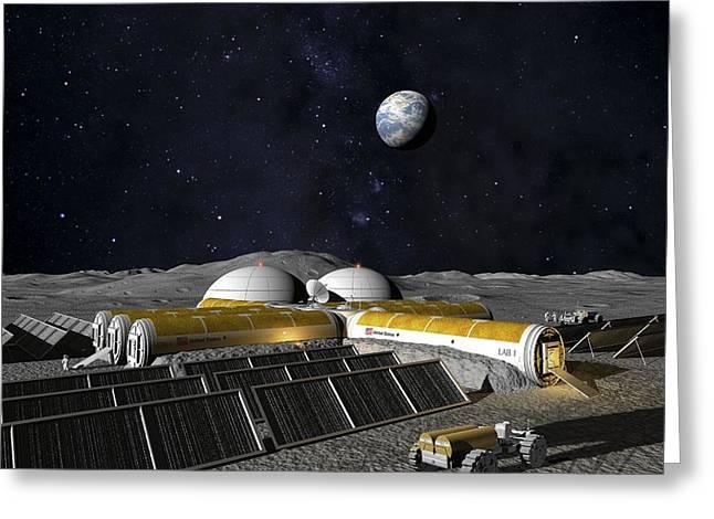 Lunar Base Greeting Cards - Moon Base, Computer Artwork Greeting Card by Chris Butler