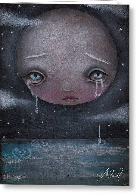 Sad Eyes Greeting Cards - Moon Boy Greeting Card by  Abril Andrade Griffith