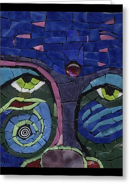 Detail Glass Art Greeting Cards - Moon Child - Fantasy Face No. 7 Greeting Card by Gila Rayberg