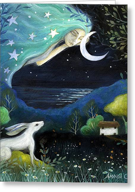 Mother Earth Greeting Cards - Moon Dream Greeting Card by Amanda Clark