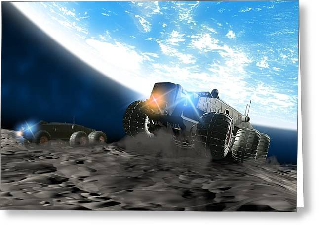 Lunar Base Greeting Cards - Moon Exploration, Artwork Greeting Card by Victor Habbick Visions