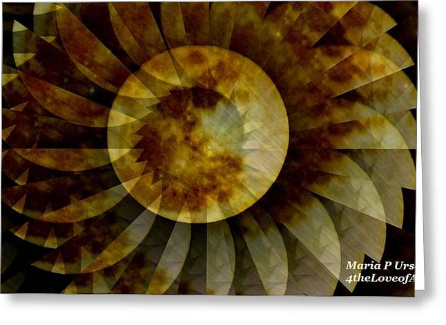 Luna Mixed Media Greeting Cards - Moon Flower Abstract Greeting Card by Maria Urso