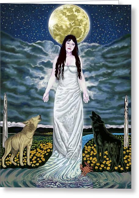 Goddess Art Greeting Cards - Moon Goddess Greeting Card by Pamela Wells