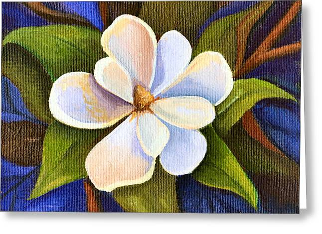 Moon Light Magnolia Greeting Card by Elaine Hodges