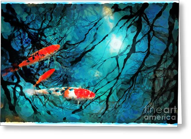 Water Garden Mixed Media Greeting Cards - Moon light swim Greeting Card by Gina Signore