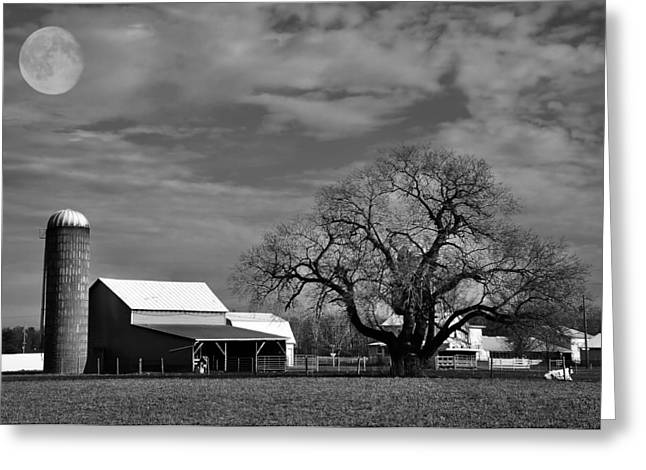 Moon Lit Farm Greeting Card by Todd Hostetter