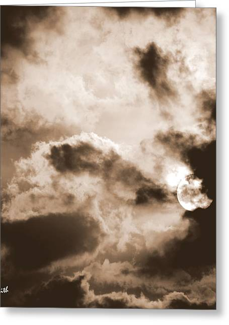 Indiana Landscapes Digital Art Greeting Cards - Moon Man Devours The Sun Greeting Card by Ed Smith