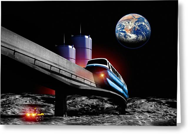 Colonisation Greeting Cards - Moon Monorail Greeting Card by Victor Habbick Visions