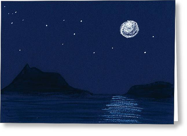 Sea Moon Full Moon Pastels Greeting Cards - Moon on the Ocean Greeting Card by Hakon Soreide