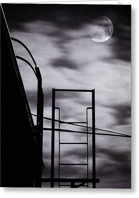Night Scenes Greeting Cards - Moon Over Brooklyn Rooftop Greeting Card by Gary Heller