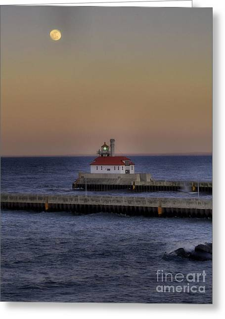 Canal Park Greeting Cards - Moon Over Canal Park Greeting Card by Jimmy Ostgard