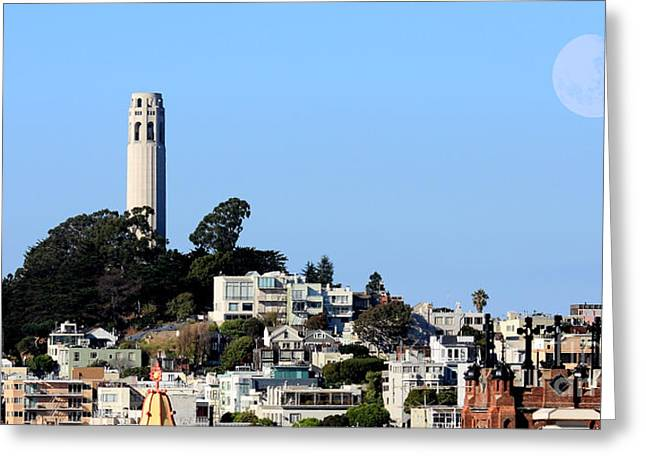 Wide Size Greeting Cards - Moon Over Coit Tower Greeting Card by Wingsdomain Art and Photography