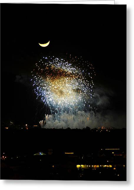 Epcot Center Greeting Cards - Moon over EPCOT Greeting Card by David Lee Thompson