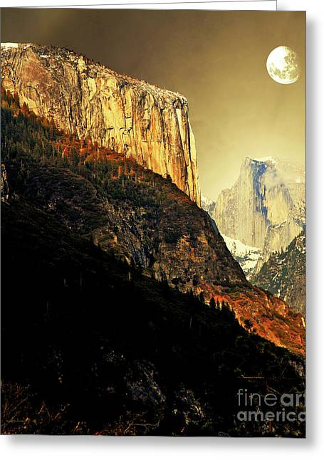 Domes Mixed Media Greeting Cards - Moon Over Half Dome . Portrait Cut Greeting Card by Wingsdomain Art and Photography