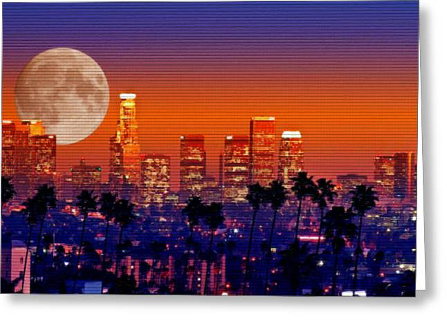 Steve Huang Greeting Cards - Moon Over Los Angeles Greeting Card by Steve Huang