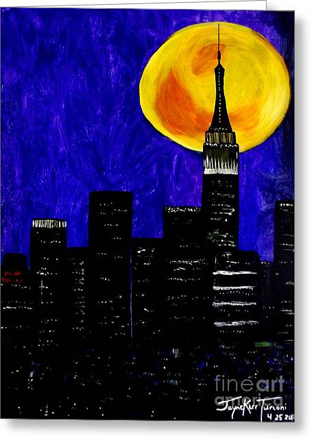 Harvest Moon Mixed Media Greeting Cards - Moon over Manhattan Greeting Card by Jayne Kerr