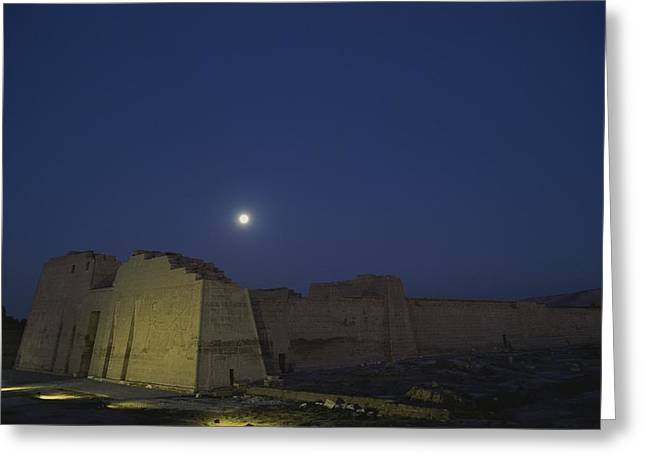 Art Of Building Greeting Cards - Moon Over Medinet Habu, The Temple Greeting Card by Kenneth Garrett