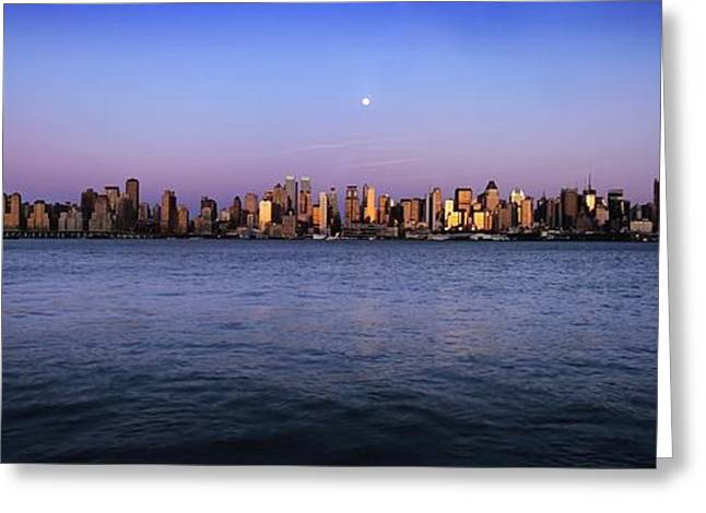 Moonrise Greeting Cards - Moon Over Midtown Manhattan Skyline Greeting Card by Axiom Photographic