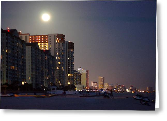 Panama City Beach Greeting Cards - Moon Over Panama City Greeting Card by Paul  Wilford
