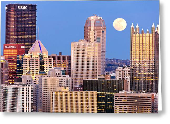 Allegheny Greeting Cards - Moon over Pittsburgh 2 Greeting Card by Emmanuel Panagiotakis