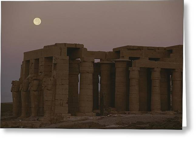 Caryatids Greeting Cards - Moon Over Ruins Of Ramesseum Greeting Card by Kenneth Garrett
