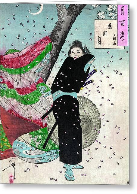 1880s Greeting Cards - Moon Over Shinobugaoka Greeting Card by Granger