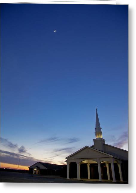 Sunset Greeting Cards Greeting Cards - Moon over steeple at New Hope Baptist Church West Duncan Oklahoma Greeting Card by Toni Hopper