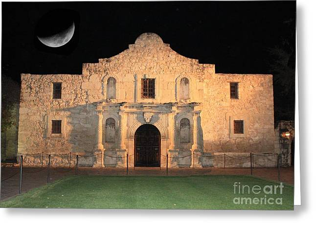 Historic Building Greeting Cards - Moon over the Alamo Greeting Card by Carol Groenen
