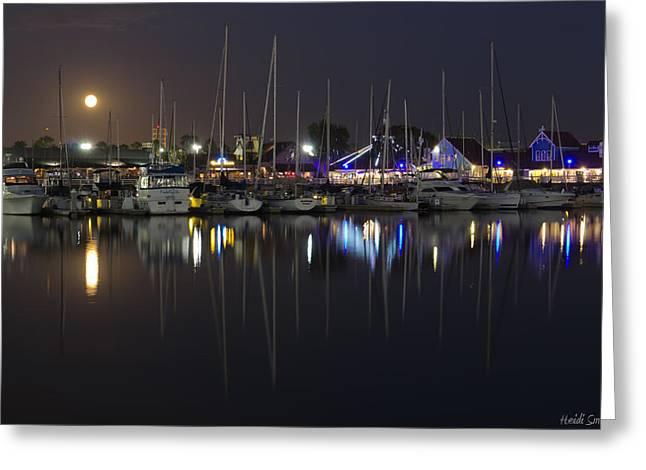 Moon Over The Marina Greeting Card by Heidi Smith