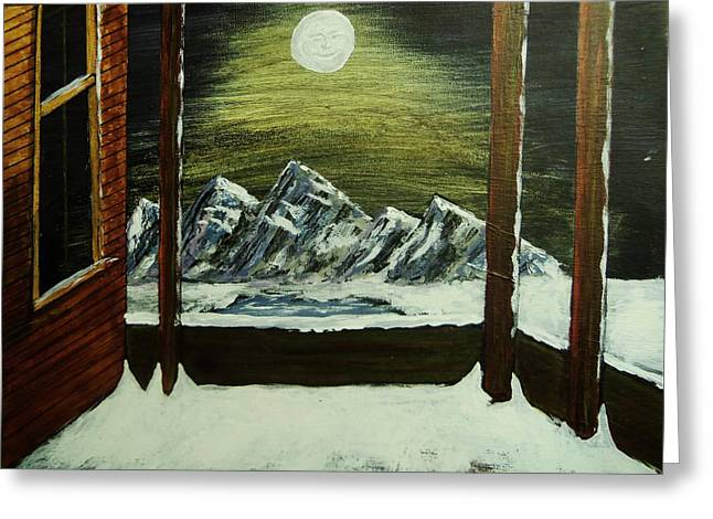 Moon Over The Mountains Greeting Card by Gordon Wendling