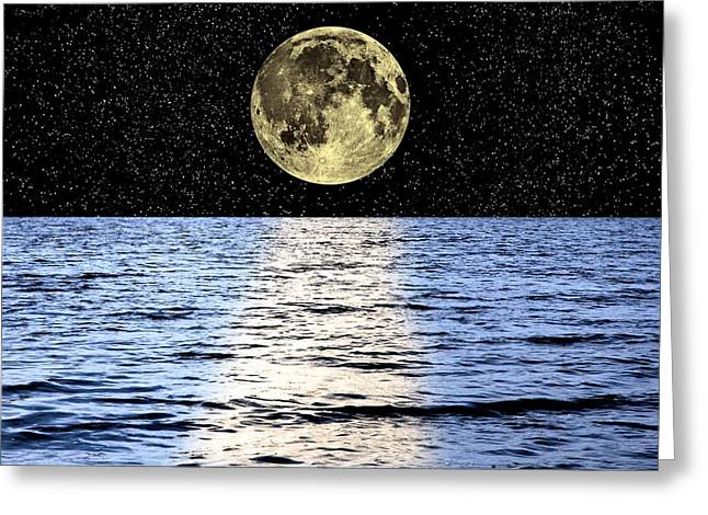 Sea Moon Full Moon Greeting Cards - Moon Over The Sea, Composite Image Greeting Card by Victor De Schwanberg