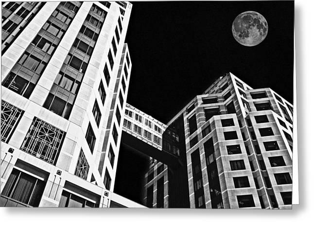 Moon Over Twin Towers 2 Greeting Card by Samuel Sheats