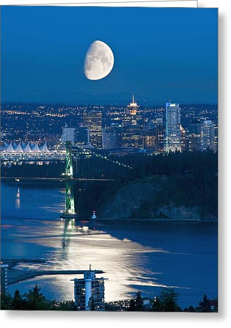 North Vancouver Greeting Cards - Moon Over Vancouver Greeting Card by David Nunuk