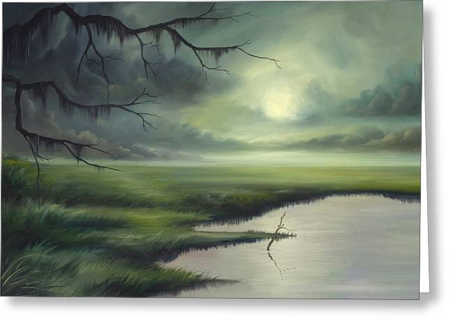 Colbalt Blue Greeting Cards - Moon Over Wadmalaw Island  Greeting Card by James Christopher Hill