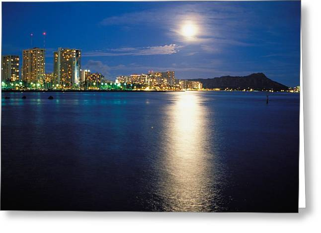 Ocean Art Photos Greeting Cards - Moon Over Waikiki Greeting Card by Mary Van de Ven - Printscapes